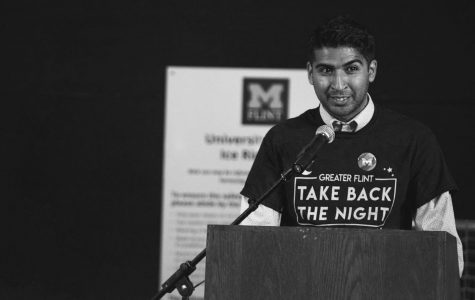 Flint City Councilman and UM-Flint students Santino Guerra speaks at Take Back The Night on Sept. 24.