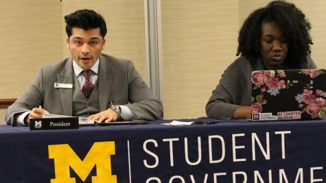 Student Government President Nickxit Bhardwaj reads a letter addressed to the UM-Flint student body.