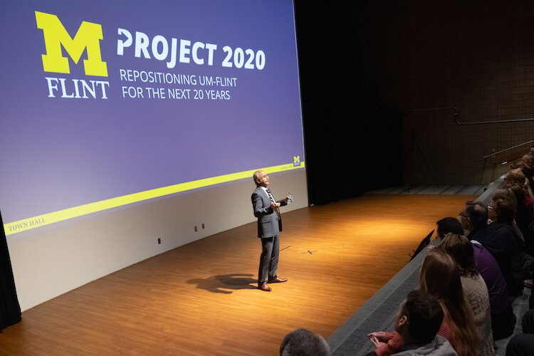 Chancellor+Deba+Dutta+announces+Project+2020.+Part+of+the+project+includes++the+founding+of+the+School+of+Technology.